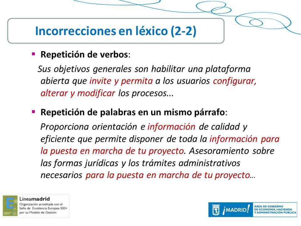 Incorrecciones en léxico (2-2)
