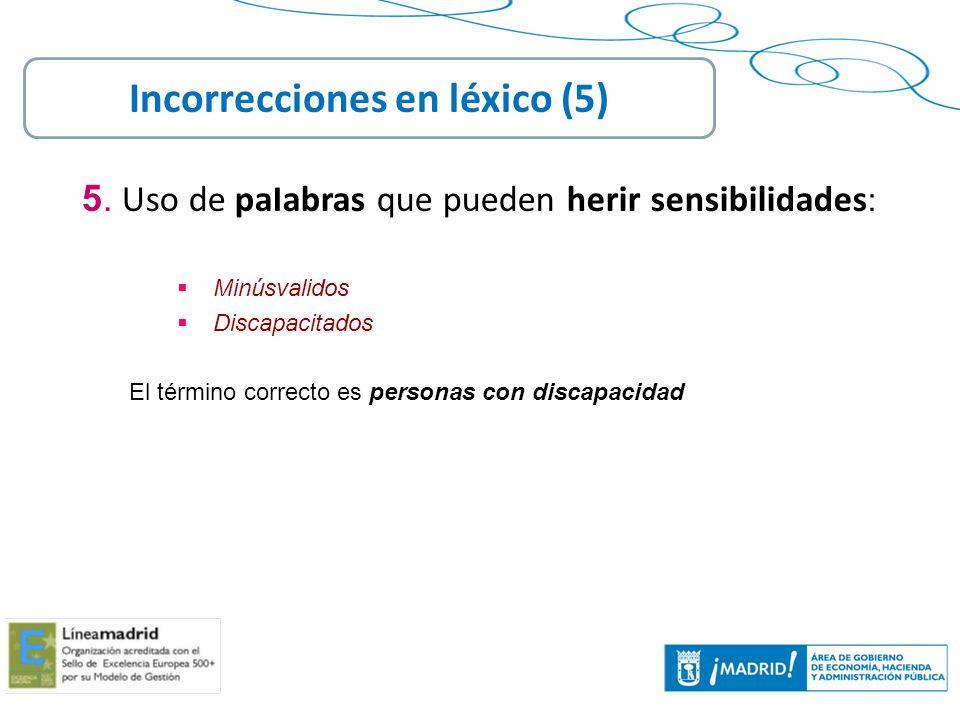 Incorrecciones en léxico (5)