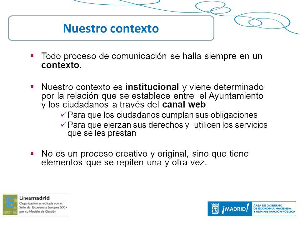 Nuestro contextoTodo proceso de comunicación se halla siempre en un contexto.