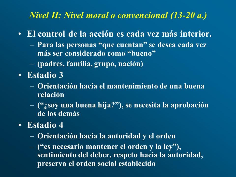 Nivel II: Nivel moral o convencional (13-20 a.)