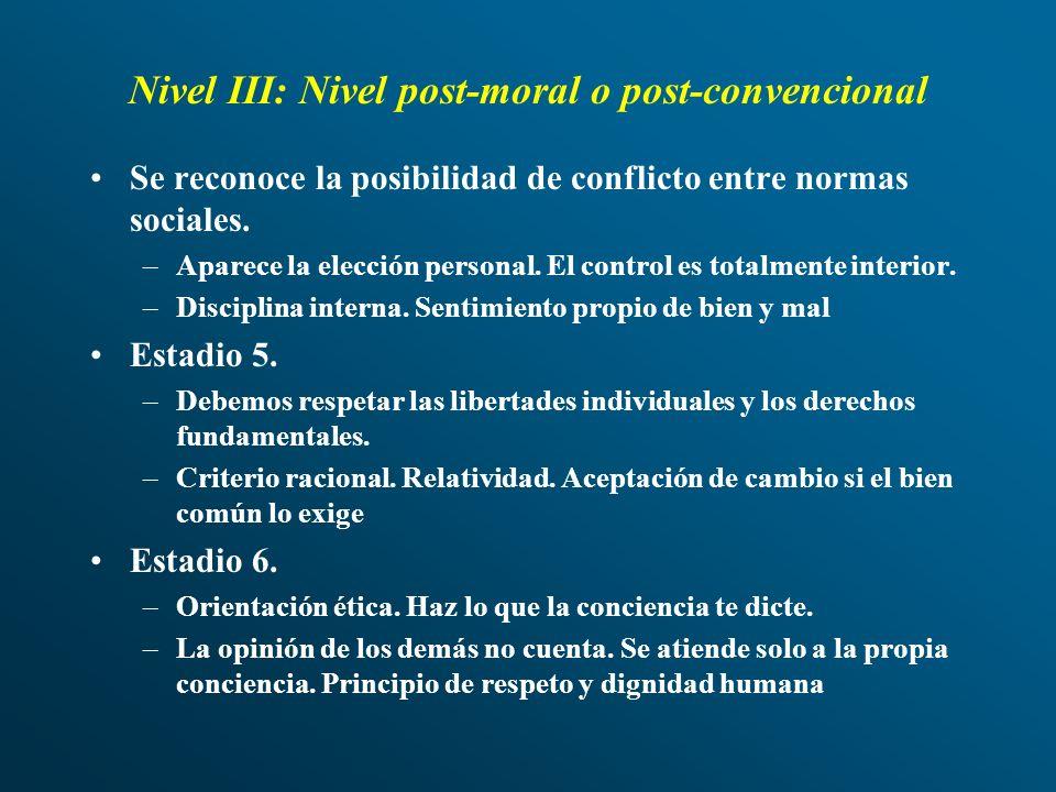 Nivel III: Nivel post-moral o post-convencional