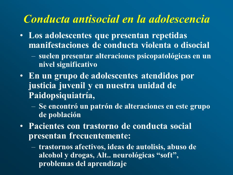 Conducta antisocial en la adolescencia