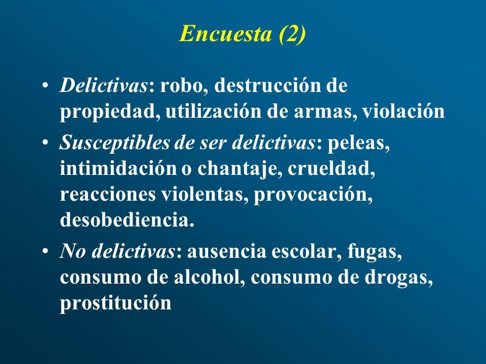 Encuesta (2) Delictivas: robo, destrucción de propiedad, utilización de armas, violación.