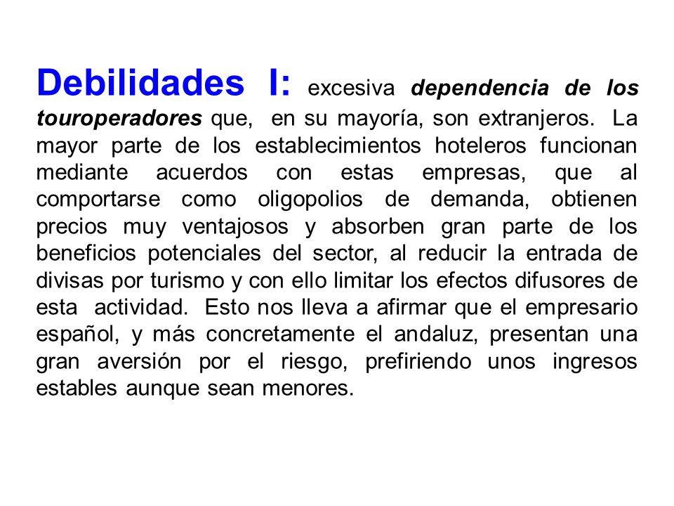 Debilidades I: excesiva dependencia de los touroperadores que, en su mayoría, son extranjeros.