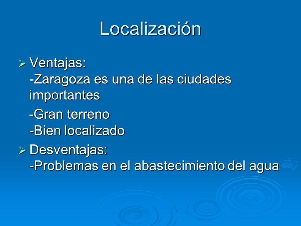 Localización Ventajas: -Zaragoza es una de las ciudades importantes