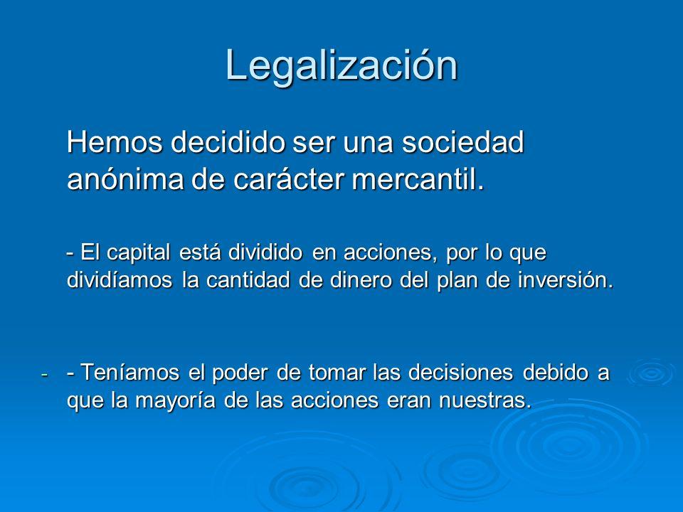 Legalización Hemos decidido ser una sociedad anónima de carácter mercantil.