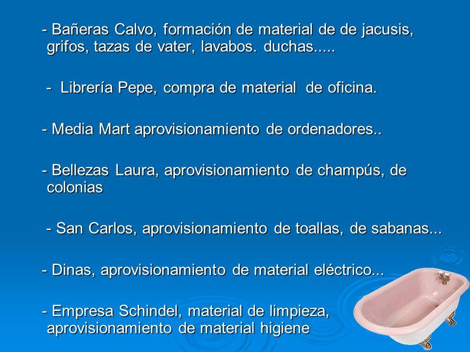 - Bañeras Calvo, formación de material de de jacusis, grifos, tazas de vater, lavabos. duchas.....