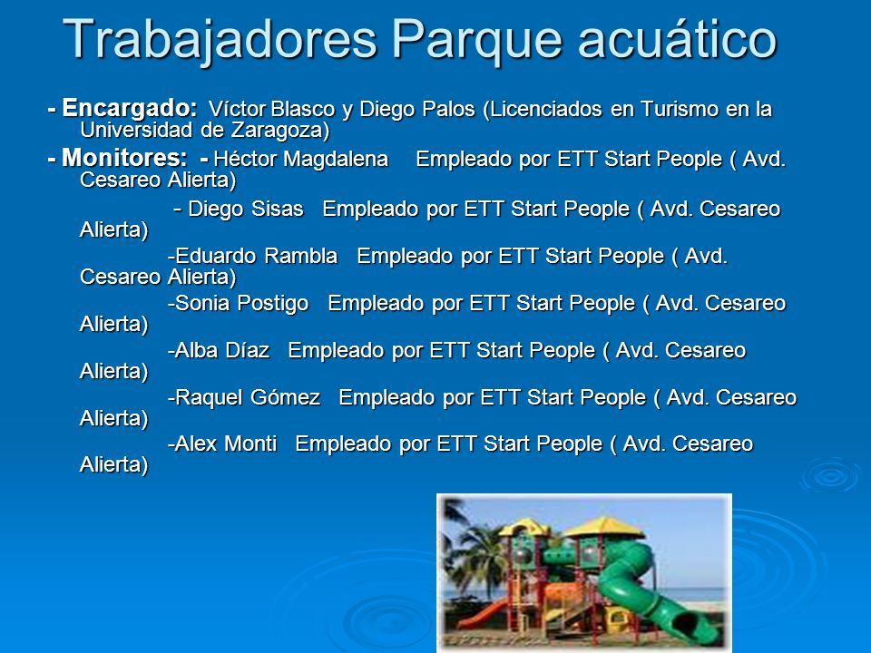 Trabajadores Parque acuático
