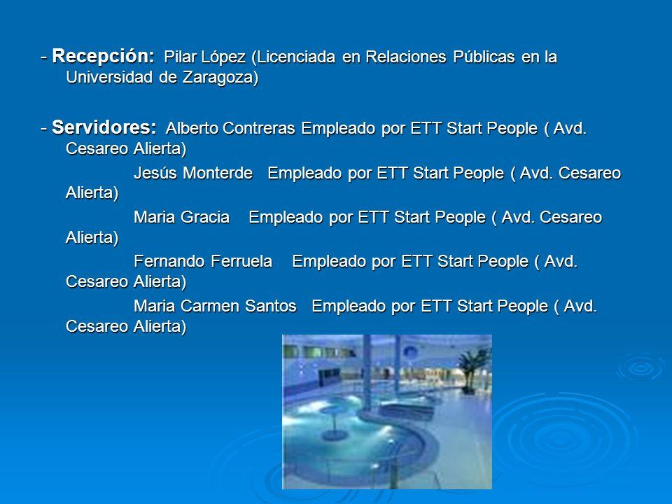 - Recepción: Pilar López (Licenciada en Relaciones Públicas en la Universidad de Zaragoza)