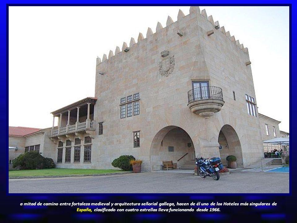 a mitad de camino entre fortaleza medieval y arquitectura señorial gallega, hacen de él uno de los Hoteles más singulares de España, clasificado con cuatro estrellas lleva funcionando desde 1966.