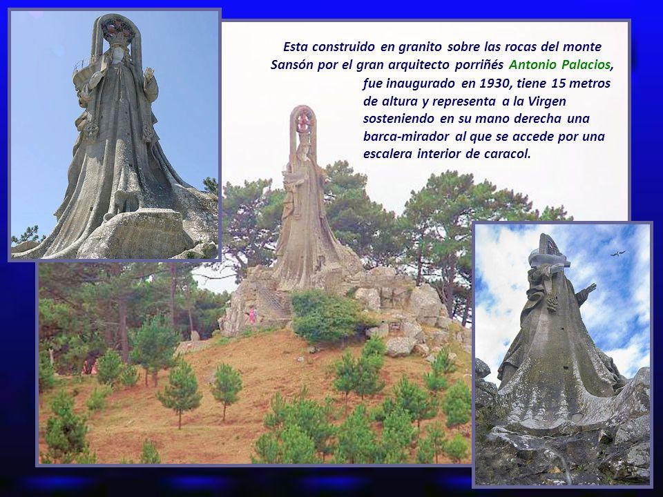 Esta construido en granito sobre las rocas del monte Sansón por el gran arquitecto porriñés Antonio Palacios,