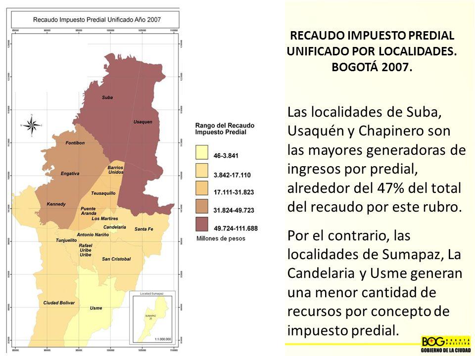 RECAUDO IMPUESTO PREDIAL UNIFICADO POR LOCALIDADES. BOGOTÁ 2007.