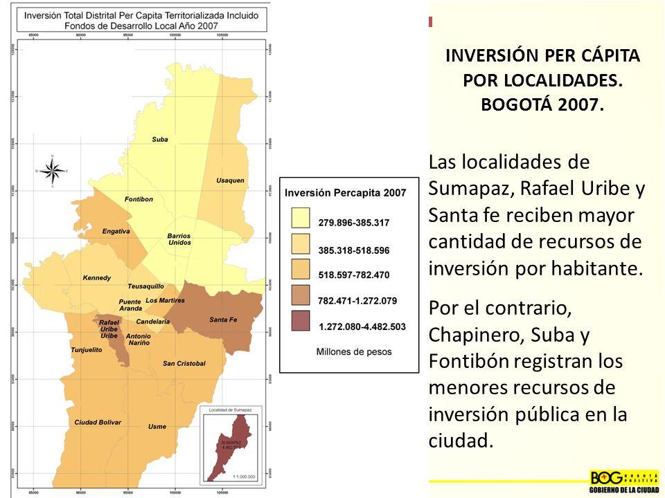 INVERSIÓN PER CÁPITA POR LOCALIDADES. BOGOTÁ 2007.