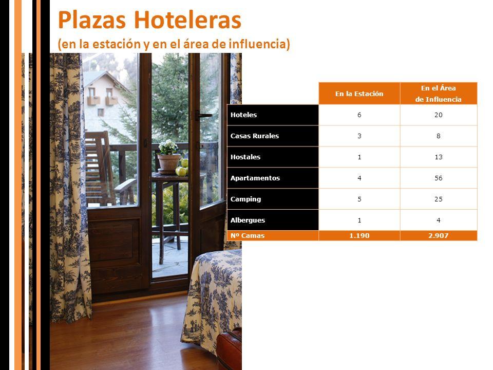 Plazas Hoteleras (en la estación y en el área de influencia)