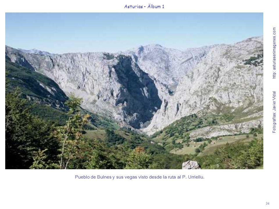 Pueblo de Bulnes y sus vegas visto desde la ruta al P. Urriellu.