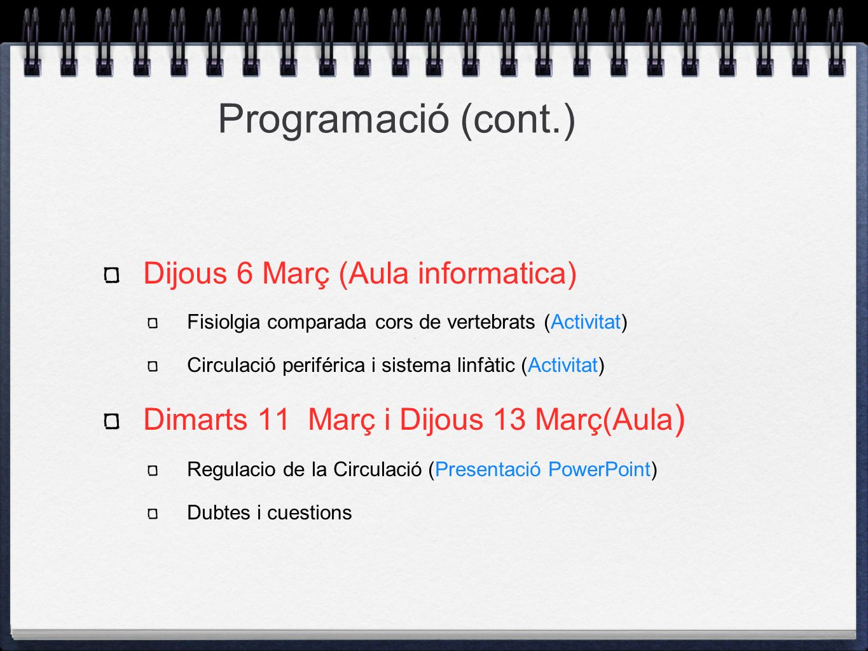 Programació (cont.) Dijous 6 Març (Aula informatica)