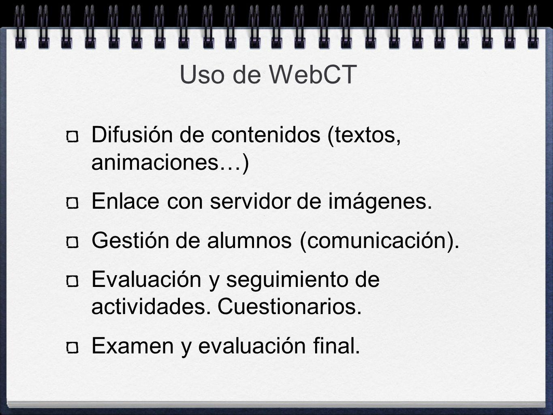 Uso de WebCT Difusión de contenidos (textos, animaciones…)