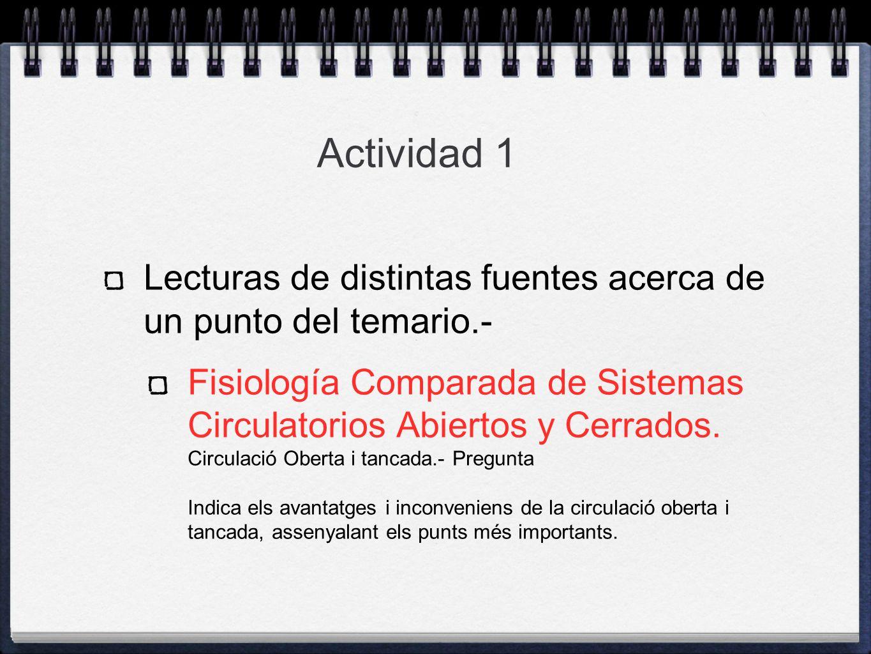 Actividad 1Lecturas de distintas fuentes acerca de un punto del temario.-