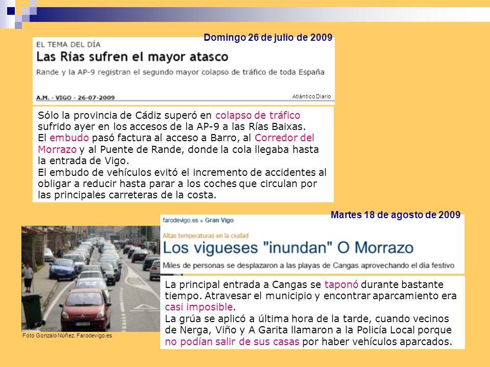 Sólo la provincia de Cádiz superó en colapso de tráfico sufrido ayer en los accesos de la AP-9 a las Rías Baixas.