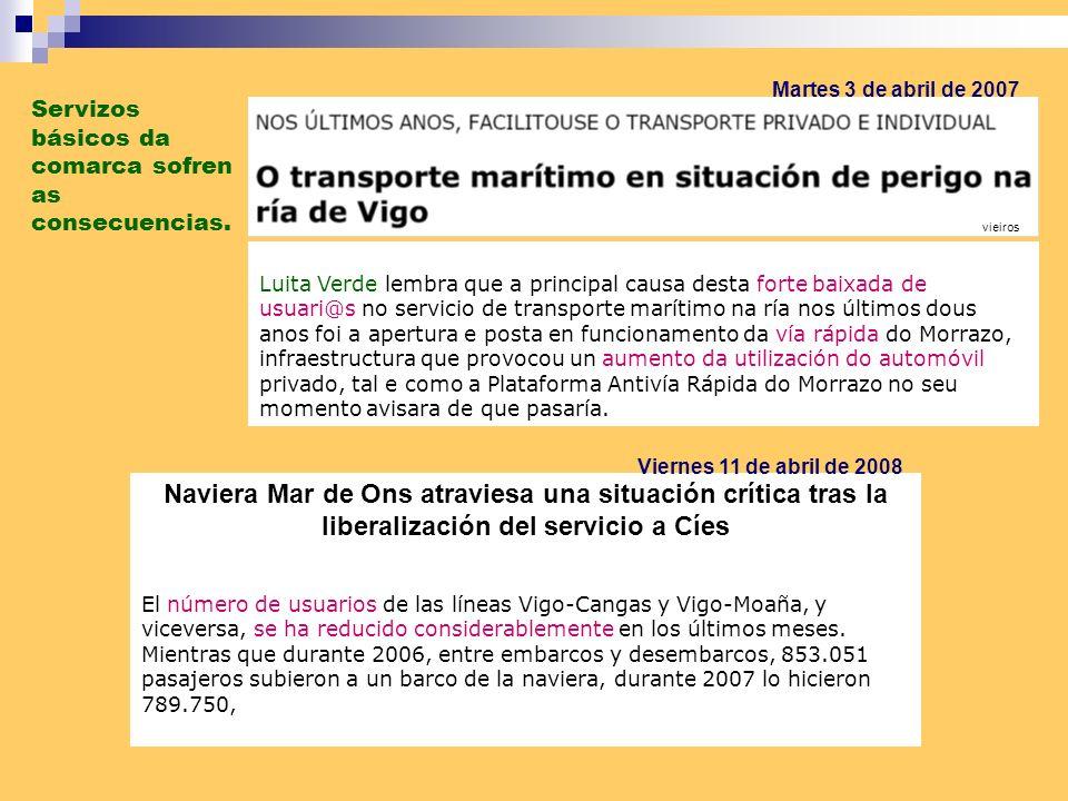 Martes 3 de abril de 2007 Servizos básicos da comarca sofren as consecuencias. vieiros.