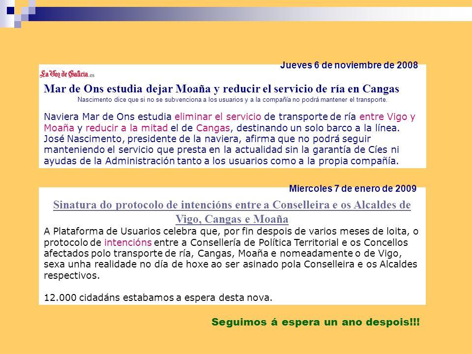 Mar de Ons estudia dejar Moaña y reducir el servicio de ría en Cangas