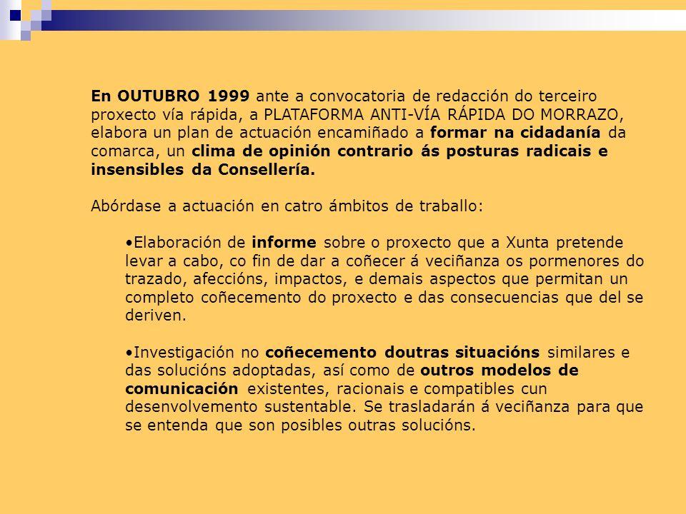 En OUTUBRO 1999 ante a convocatoria de redacción do terceiro proxecto vía rápida, a PLATAFORMA ANTI-VÍA RÁPIDA DO MORRAZO, elabora un plan de actuación encamiñado a formar na cidadanía da comarca, un clima de opinión contrario ás posturas radicais e insensibles da Consellería.
