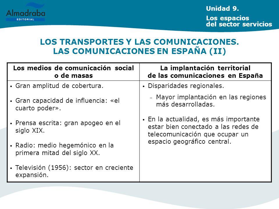Unidad 9. Los espacios del sector servicios. LOS TRANSPORTES Y LAS COMUNICACIONES. LAS COMUNICACIONES EN ESPAÑA (II)