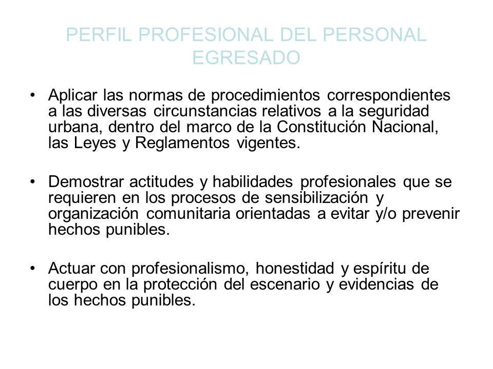 PERFIL PROFESIONAL DEL PERSONAL EGRESADO