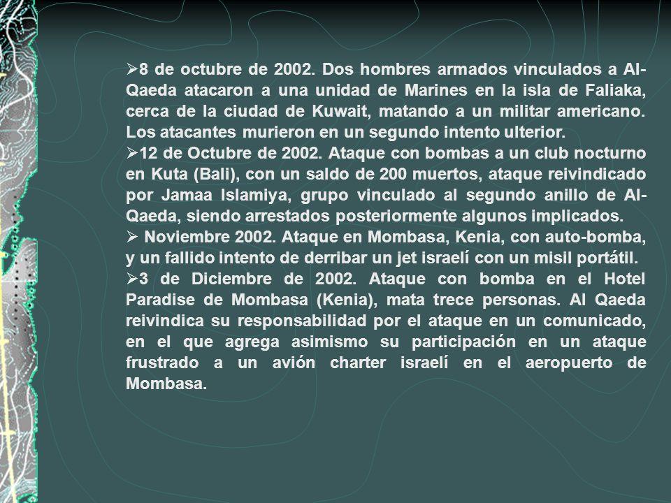8 de octubre de 2002. Dos hombres armados vinculados a Al-Qaeda atacaron a una unidad de Marines en la isla de Faliaka, cerca de la ciudad de Kuwait, matando a un militar americano. Los atacantes murieron en un segundo intento ulterior.