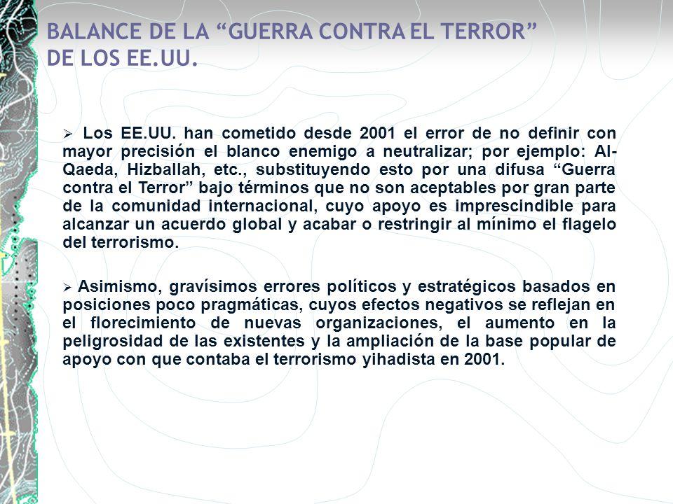 BALANCE DE LA GUERRA CONTRA EL TERROR DE LOS EE.UU.