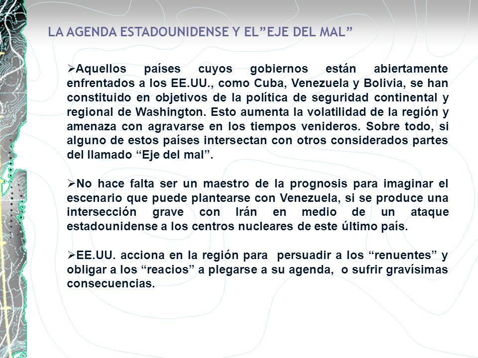LA AGENDA ESTADOUNIDENSE Y EL EJE DEL MAL
