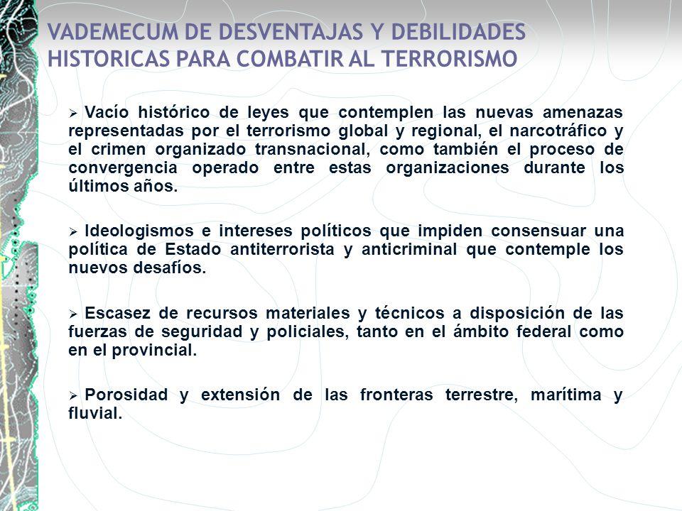 VADEMECUM DE DESVENTAJAS Y DEBILIDADES HISTORICAS PARA COMBATIR AL TERRORISMO