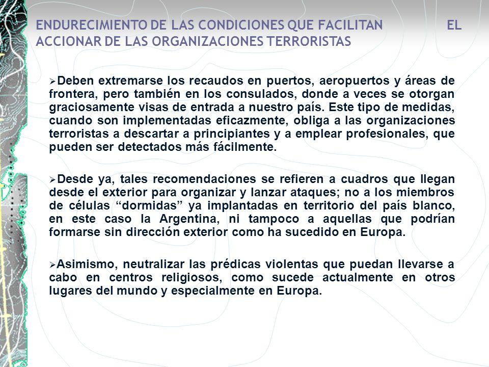 ENDURECIMIENTO DE LAS CONDICIONES QUE FACILITAN EL ACCIONAR DE LAS ORGANIZACIONES TERRORISTAS