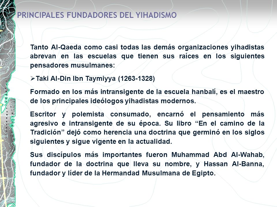 PRINCIPALES FUNDADORES DEL YIHADISMO