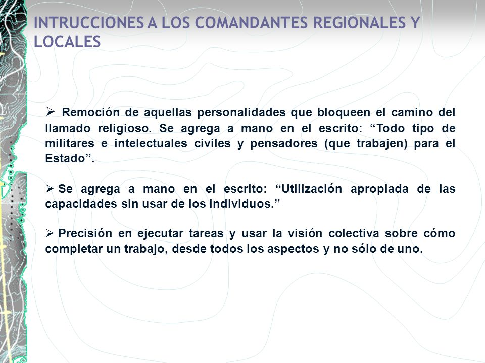 INTRUCCIONES A LOS COMANDANTES REGIONALES Y LOCALES