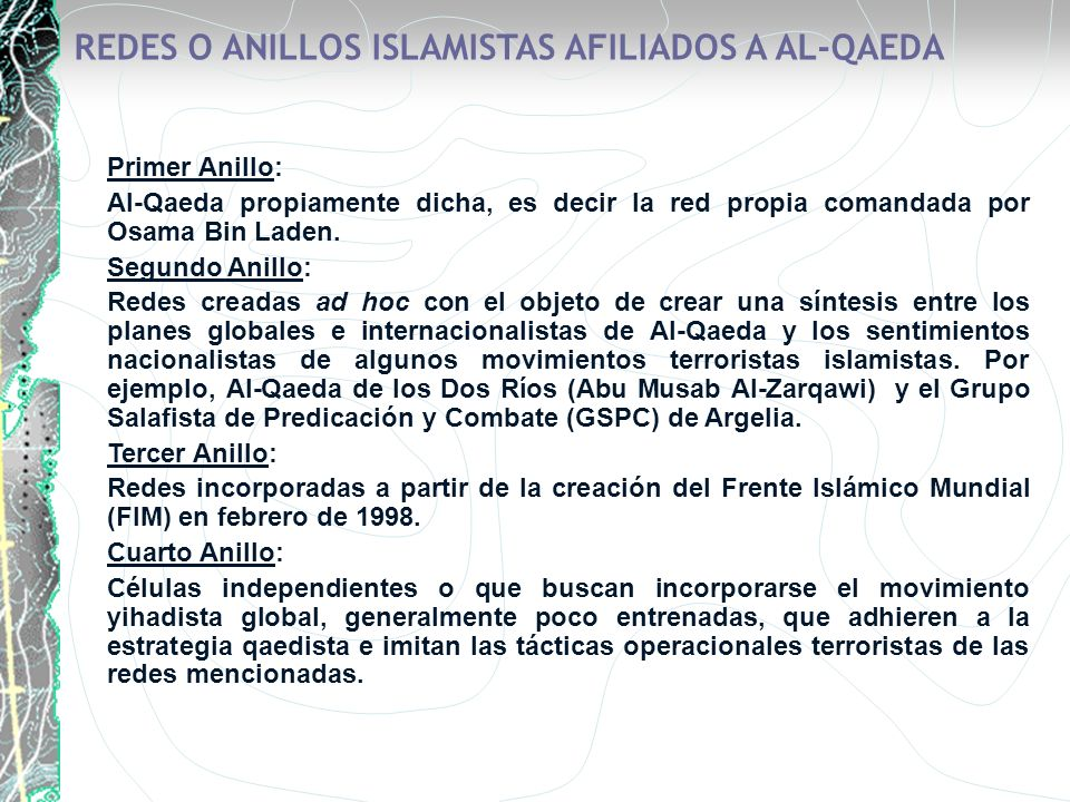 REDES O ANILLOS ISLAMISTAS AFILIADOS A AL-QAEDA