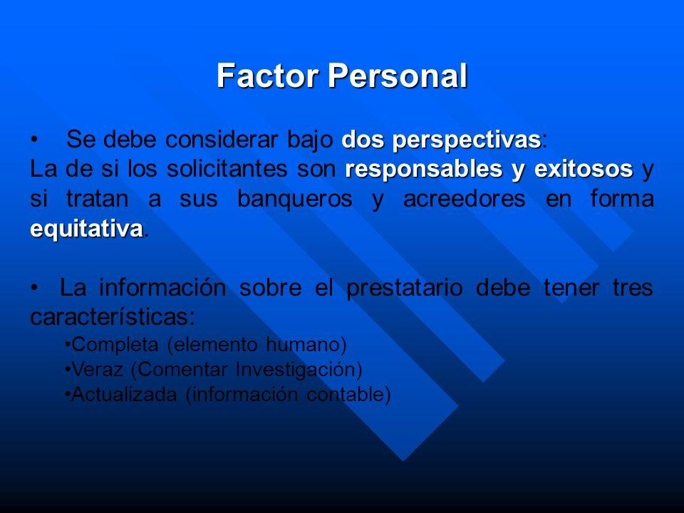 Factor Personal Se debe considerar bajo dos perspectivas: