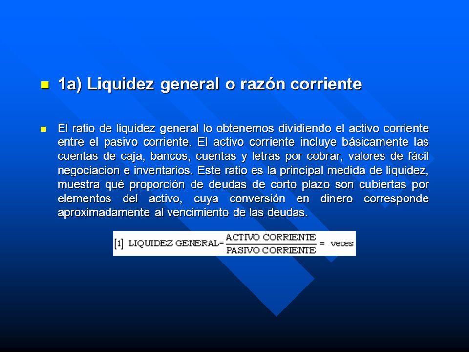 1a) Liquidez general o razón corriente