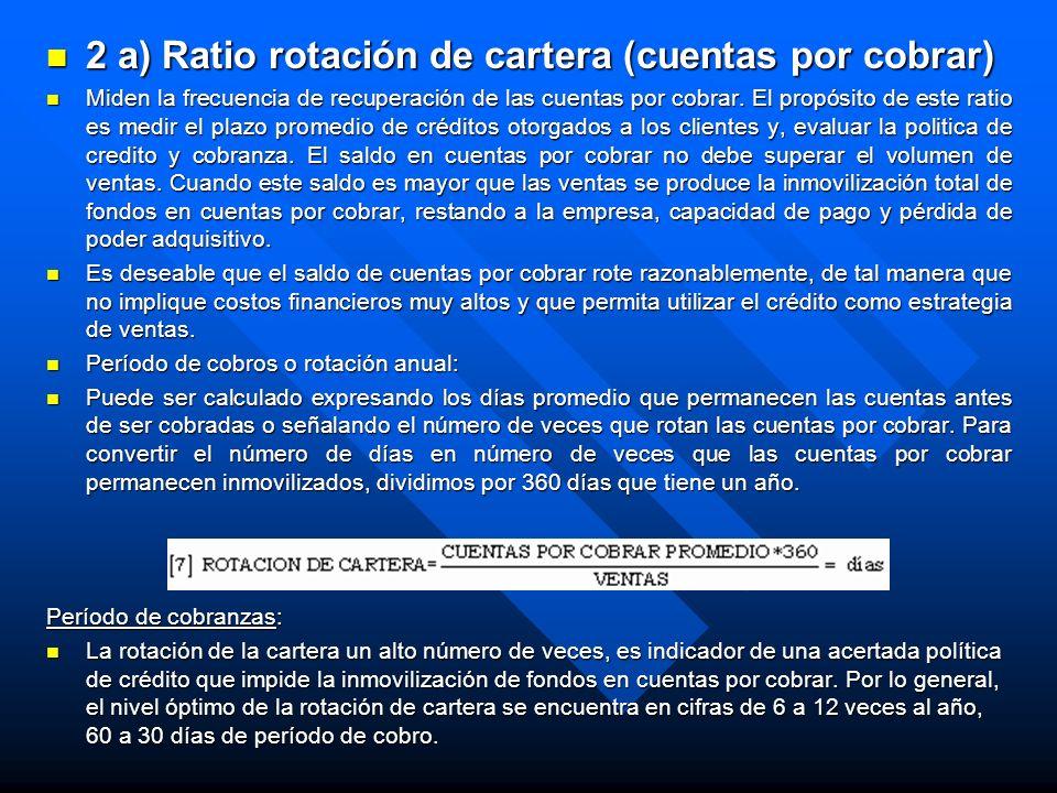 2 a) Ratio rotación de cartera (cuentas por cobrar)