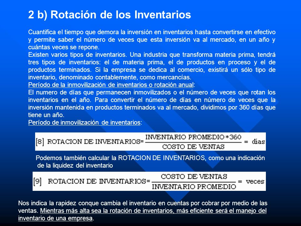 2 b) Rotación de los Inventarios