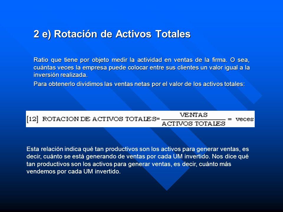 2 e) Rotación de Activos Totales