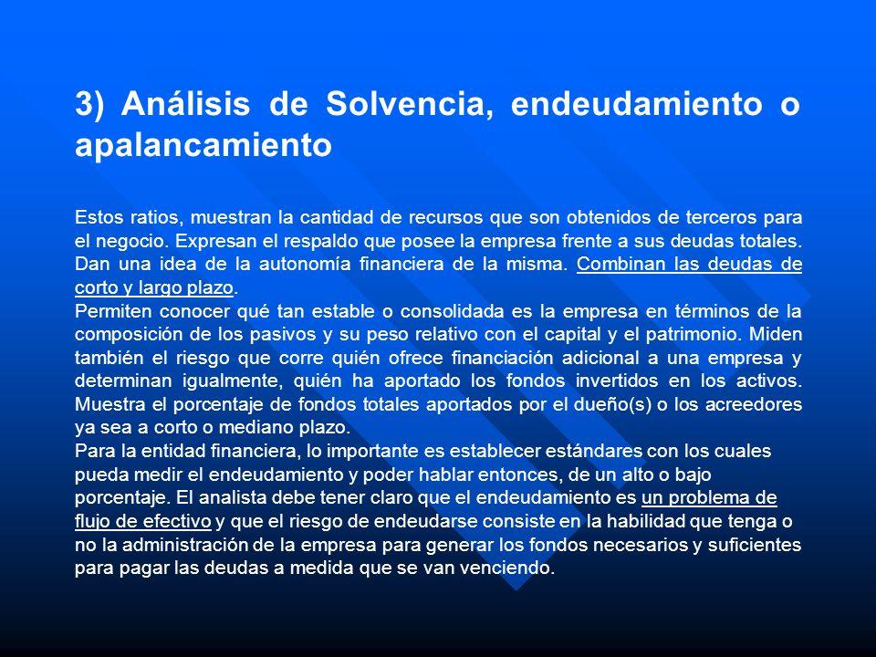 3) Análisis de Solvencia, endeudamiento o apalancamiento