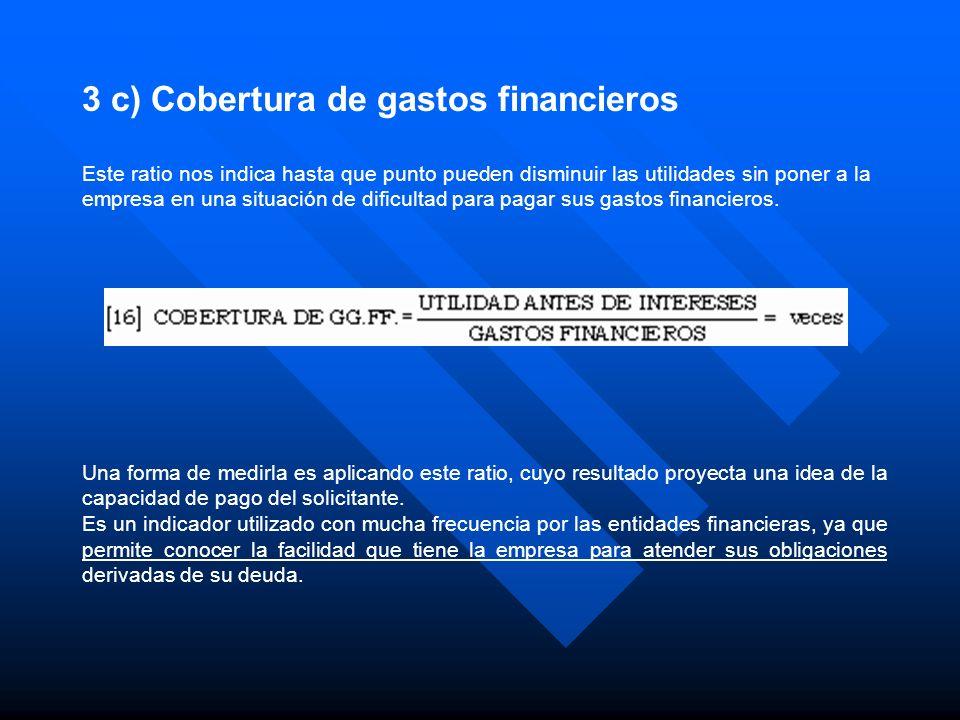 3 c) Cobertura de gastos financieros