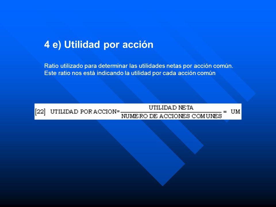 4 e) Utilidad por acción Ratio utilizado para determinar las utilidades netas por acción común.
