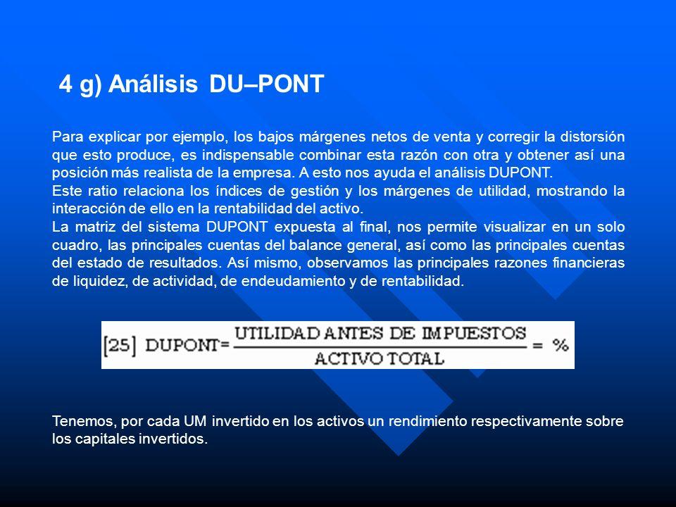4 g) Análisis DU–PONT