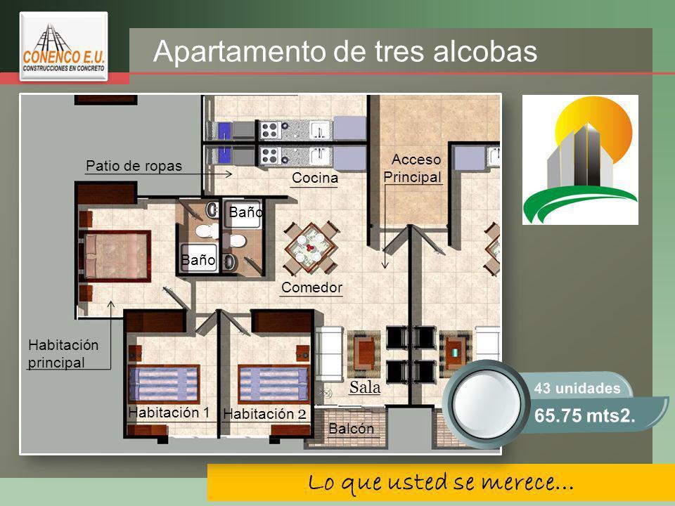Apartamento de tres alcobas