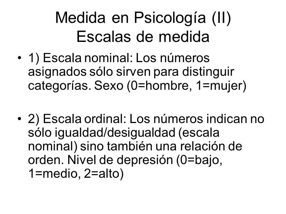 Medida en Psicología (II) Escalas de medida