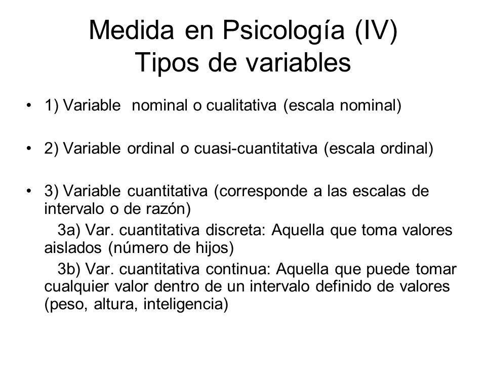 Medida en Psicología (IV) Tipos de variables