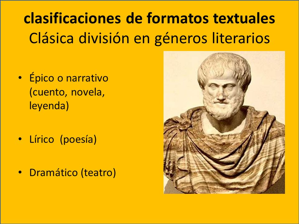 clasificaciones de formatos textuales Clásica división en géneros literarios