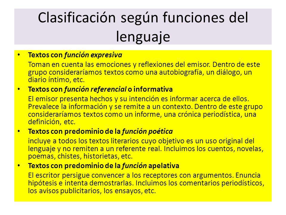 Clasificación según funciones del lenguaje